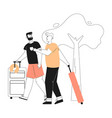 happy gay couple holding suitcases goes on summer vector image vector image
