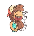 Histerically Laughing Girl In Cap Choker And Blue vector image vector image