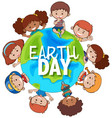 kids around earth for earth day vector image vector image