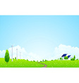 landscape with trees clouds vector image vector image
