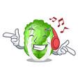 listening music cartoon fresh chinese cabbage vector image