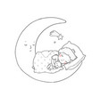 little prince is sleeping on moon cute vector image