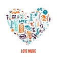 Love music colorful hand drawn doodles in vector image vector image