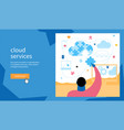 man collects puzzle from cloud vector image vector image