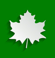 maple leaf sign paper whitish icon with vector image vector image
