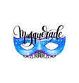 masquerade lettering logo design with mask and vector image vector image