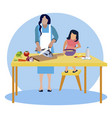 mom and daughter cook in kitchen vector image