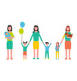 motherhood woman taking care about kids vector image