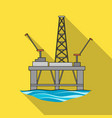 oil rig on the wateroil single icon in flat style vector image