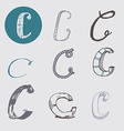 Original letters C set isolated on light gray vector image