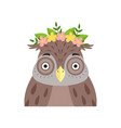owl wearing a wreath of flowers cute cartoon bird vector image vector image