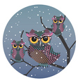Owls on a Branch3 vector image vector image