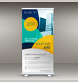 roll up banner design template with modern shapes vector image