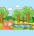 scene with cheetah in forest vector image vector image