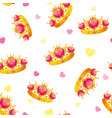 seamless pattern with cute princess crowns vector image vector image