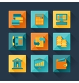 set business icons in flat design style vector image vector image