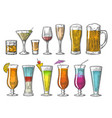 set glass beer whiskey wine tequila cognac vector image vector image