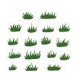 set green grass clumps flat hand drawn vector image