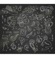 set of chalk love doodles icons on blackboard vector image vector image
