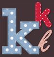 set stitched font -letter k vector image vector image