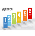 six steps template with blocks and numbers vector image vector image