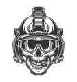 skull in modern military helmet vector image