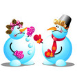 two snowmen argue and swear isolated on white vector image vector image