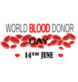 world blood donor day concept vector image