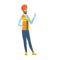 young hindu builder giving thumb up vector image vector image
