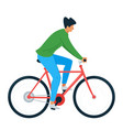 young man riding bicycle flat vector image