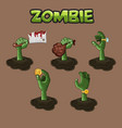 zombie hand design of different hand vector image vector image