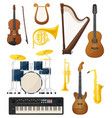 guitar and drums violin lyre music instruments vector image