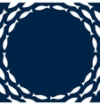 Navy blue and white simple fishes circle frame vector image