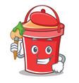 artist bucket character cartoon style vector image vector image