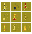 assembly flat icons eastern smoke hookah vector image