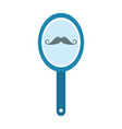 barber mirror with mustache reflection vector image