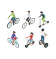 bike people isometric persons riding bicycles vector image