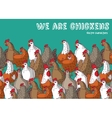 Birds chicken farm animals big group color and sky vector image vector image