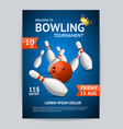 bowling tournament poster card template vector image