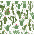 cactus pattern seamless cactus houseplant pattern vector image vector image