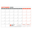 calendar template for 2018 year september vector image vector image