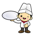 cartoon chef character holding a plate isolated vector image vector image