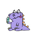 cartoon croc wants ice cream vector image vector image