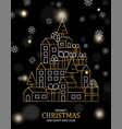 christmas and new year card gold outline city vector image vector image