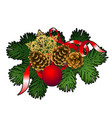 christmas sketch with decor of fir twigs with red vector image vector image