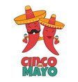 cinco de mayo poster bright characters vector image