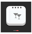 cocktail glasses icon gray icon on notepad style vector image