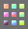 colorful rouded square buttons set vector image vector image