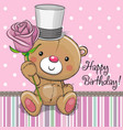 cute teddy bear with a flower vector image vector image