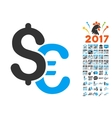 Euro And Dollar Currency Icon With 2017 Year Bonus vector image vector image